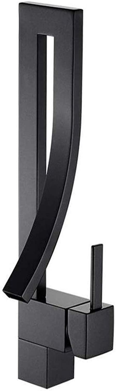 Schwarz Bad Wasserhahn Wasserfall Waschtischarmatur Elegant Design Einhebel Mischbatterie Waschbecken Armatur Einhandmischer Badarmaturen Badezimmer aus Messing