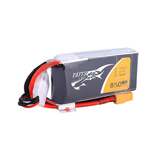 TATTU 10016 850mAh 11.1V 75C 3S1P Lipo Akku mit XT60 Stecker für FPV Racing Quadrocopter 150 180 Größe