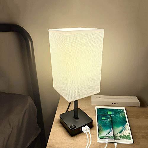 L.W.S Lámpara de Noche Lámpara de Escritorio de Mesa de Noche USB con 3 Puertos de Carga USB, Base de Cargador Negro con Sombra de Tela Blanca, luz LED para Dormitorio/mesita de Noche/Sala de Esta