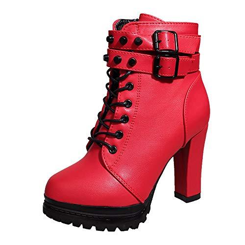 WUSIKY Bootsschuhe Damen Stiefeletten Boots Damen Absatzschuhe Stiefel Leder Schnürschuhe einfarbig runde Form (Rot, 39 EU)