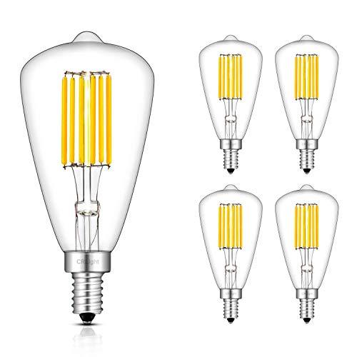 CRLight 6W LED Candelabra Bulb 3000K Soft White 700LM, 70W Equivalent Dimmable E12 Base LED Bulbs, ST48(ST14) Antique Edison Style, 360 Degree Beam Angle, Pack of 4