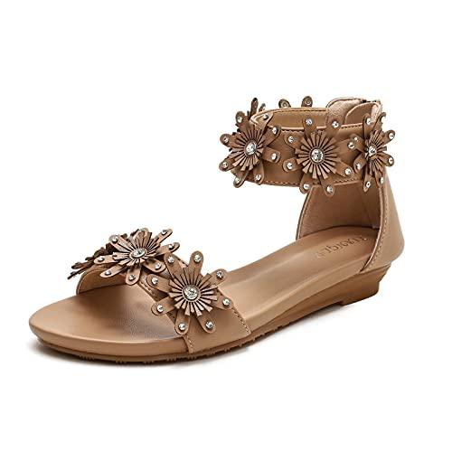 XIANGLV Sandalias de cuña para mujer,Sandalias romanas de verano con flores y diamantes de imitación,Zapatillas casuales de playa con cremallera, color, talla 39 EU