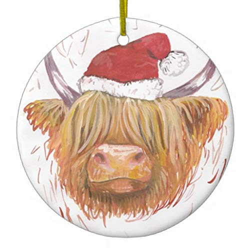 Christmas Coo Highland Cow with Christmas Hat Ceramic Christmas Tree Ornaments,2020 Christmas Ornaments,Christmas Memory Keepsake Ornament,for Kids,Girls,Women,3' Double Sided Print