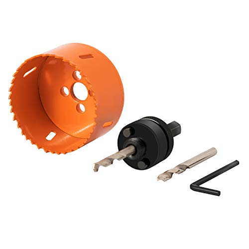 SUNGATOR 3-Inch Bi-Metal Hole Saw with Arbor and Spare Pilot Drill, Durable High Speed Steel (HSS). Fast Cut Clean, Smooth and Precise Holes Through Metal, Wood, Plastic, Drywall