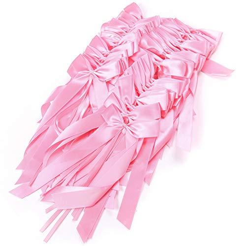 Xinlie 50pcs Lazos de Tul para Decorar Boda Silla cestas Coche La Cinta Delicada de los Bowknots del Final del Banco de la Boda de arquea Las Decoraciones (Rosa)