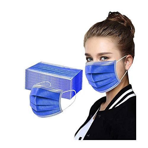 FRAUIT 50 Stück Schwarz Mundschutz Schwarz Schutz_Maske Einweg 3-lagig Baumwolle Stoff_maske Bandana Halstuch Multifunktionstuch Verhindern Sie das Beschlagen von Gläsern (Blau, 50pcs)
