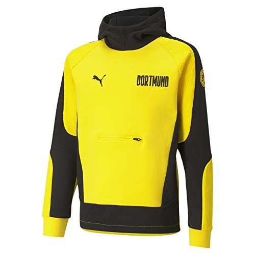 PUMA BVB Evostripe Jugend Fußball-Hoodie Cyber Yellow-Puma Black 128