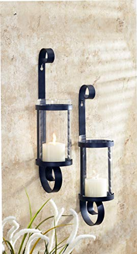 Benelando Wandkerzenhalter aus Metall mit großen Windlichtern aus Glas (2)