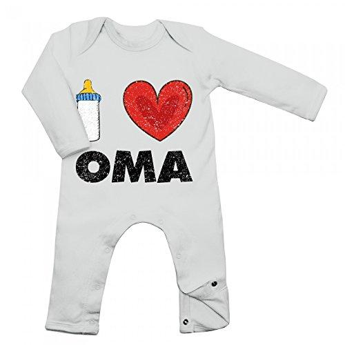 Shirt Happenz I Love Oma Babybody Baby Milch Neugeboren Langarm Langärmliger Strampler, Farbe:Weiß (White BZ13);Größe:3-6 Monate