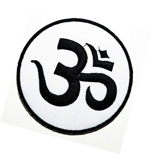 White Circle Buddhist Symbol Inner Peace Patch Buddha Wisdom Buddhist aum om Yoga Cartoon Kids Patch Embroidered Iron On Patches Cute Sewing On Patches Appliques for Clothes Jackets Hats Backpacks