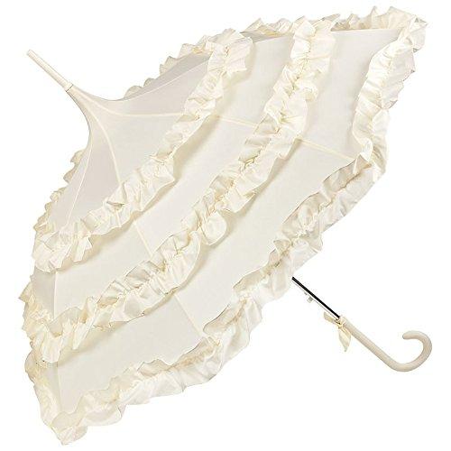 VON LILIENFELD Regenschirm Brautschirm Hochzeitsschirm Pagode Sonnenschirm Auf-Automatik Rüsche Lilly creme