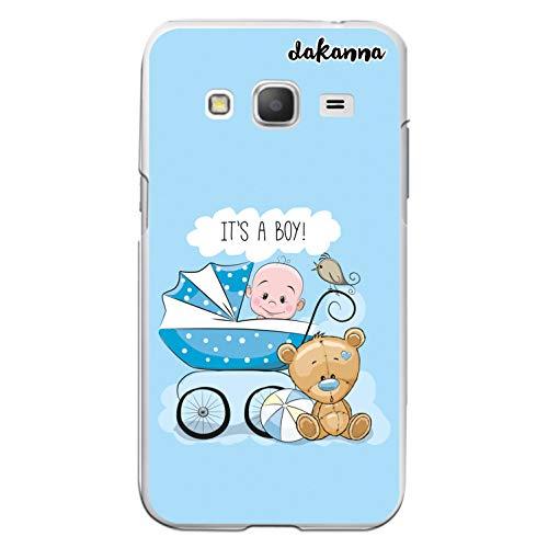 dakanna Custodia Compatibili con [Samsung Galaxy Core Prime] Trasparente con Disegni [Carrozzina con Orsacchiotto e Frase: è Un Ragazzo] in Morbida Silicone TPU Flessibile, Shell Case Cover in Gel