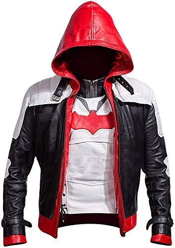 Chaqueta de piel sintética con capucha roja de Batman Arkham Knight Jason Todd