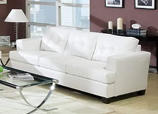 acme 15095B Diamond Bonded Leather Sofa with Wood Leg, White