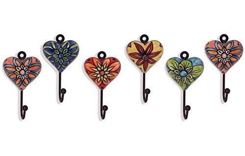 Unbekannt 6 Garderobenhaken mit Herz Metall - Keramik