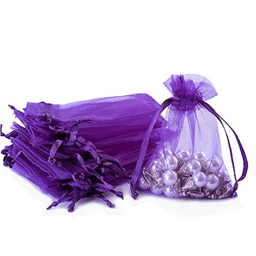 60 kleine Organza-Geschenkbeutel, Schmuckbeutel, durchscheinende Kordelzugbeutel, Netzbeutel, Süßigkeitenbeutel für Hochzeit, Party, Festival, Spiel (lila, 9 x 7 cm)