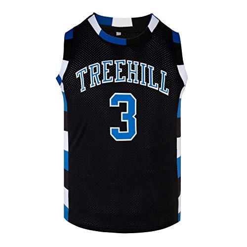 Mens Basketball Jersey Lucas Scott #3 Ravens Stitched Sports Movie Jersey (Black,Large)
