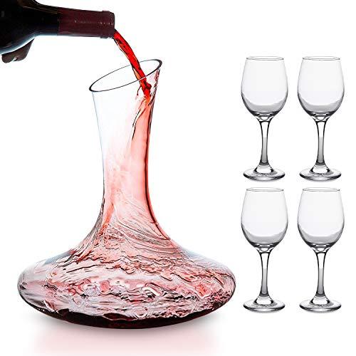 hotder Carafe à Décanter du Vin + 4 pièces de Verre du Vin