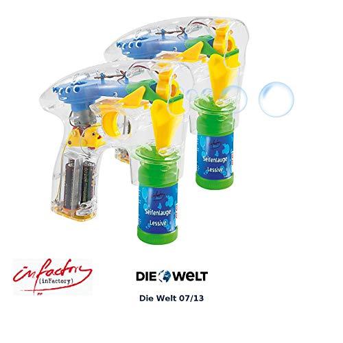 infactory Kinder-Spielzeug Pistole: 2er-Set Seifenblasenpistolen mit LEDs je inkl. 2X Seifenblasenlösung (Seifenblasen Spielzeugpistolen)