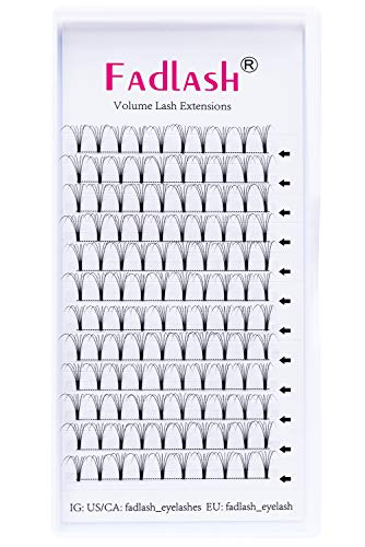 Volumen Ruso 5D 0.10mm C Curl 12mm Prefabricados Extensiones de Pestañas Premade Volume Lashes Extension Ventiladores(5d-0.10c-12)