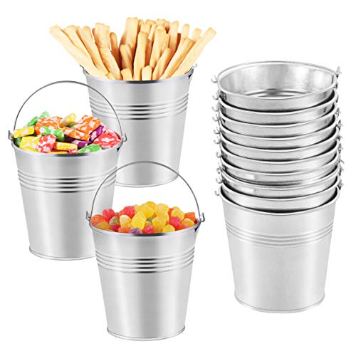 Toyvian Metal Buckets Mini Tinplate Bucket,4 Inch Metallic Pails with Handle for Party Favors, Candy, Votive Candles, Trinkets, Small Plants,12 Pieces