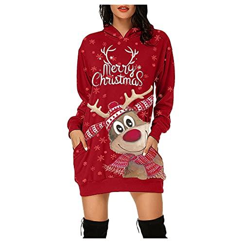 Alueeu Weihnachtskleid Damen Vintage Langarm Sexy Party Kleider Weihnachts Kostüm Cartoon Drucken Oberteil Langarmshirt LäSsig Sweatshirt FrüHling Herbst Winter Shirts Festliche Geschenk