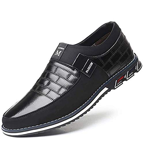 Mens Driving Moccasin Brogue Leather Shoes Classic Loafers Oxford Lace Up Casual Business Men Comfort Walking Business Office (Black, Numeric_12)