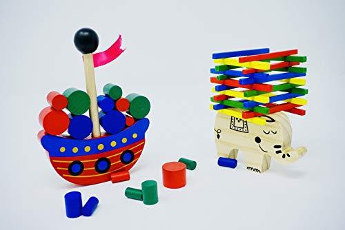 Minis Kreativ Elefant Stapel Spielzeug & Piratenschiff aus Holz zum Geschicklichkeit Lernen | Konzentrationsspiel frühe Motorik | Entwicklung & Ausbildung Ihres Kindes ab 3 Jahren