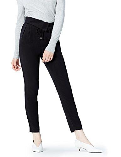 Amazon-Marke: find. Hose Damen mit Wickeldesign und Schnüren, Schwarz (Black), 38, Label: M
