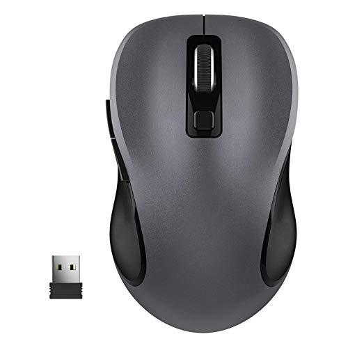 GYY 2.4G Mouse inalámbrico para computadora portátil, ratón de computadora ergonómico con Receptor USB y 3 Niveles Ajustables, 6 Botones inalámbricos (Color : Black)