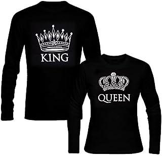 picontshirt King & Queen Long Sleeve Black Couple T-Shirts Men XL/Women L Black