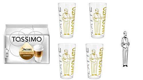 Tassimo Jacobs Krönung Latte Macchiato, 1er Pack Tassimo Latte Macchiato classico + 4 James Premium Latte Gläser