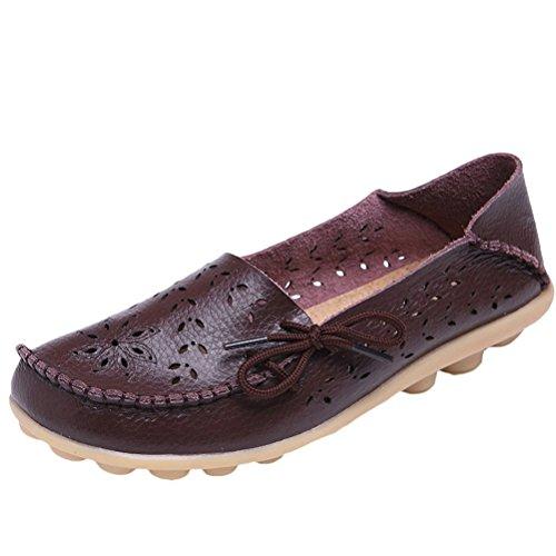 Vogstyle Damen Neu Casual Slipper Flatschuhe Low-top Schuhe Erbsenschuhe Art 2 Kaffee 42