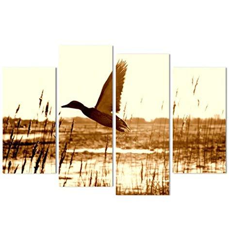 ZKPWLHS canvasdruk 4 stuks canvas muurkunst eend vliegen meer schilderen ruimtedecoratie decoratieve afbeeldingen Size C Met houten lijst