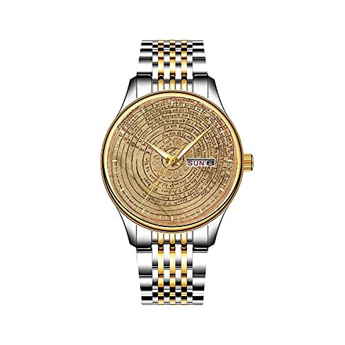 Relojes para hombre de cuarzo japonés con fecha de acero inoxidable, pulsera dorada, reloj astronómico de Praga Orlog