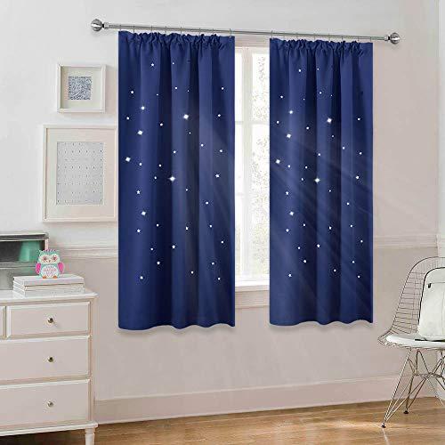 PONY DANCE Gardinen Kinderzimmer Junge - Sterne Vorhänge Blickdicht Kräusleband Thermo Gardine Blickdicht Dekoschals Schlafzimmer Vorhang, 2 Stücke H 137 x B 167 cm, Blau