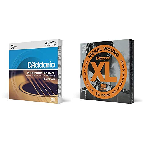 D'Addario EJ16-3D Phosphor Bronze Acoustic Guitar Strings, Light Tension – Pack of 3 Sets & D