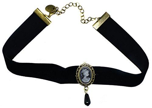 Gatsby-Halskette mit Kamee-Anhänger, Vintage-Gothic-Stil, Samt, schwarz, enganliegend