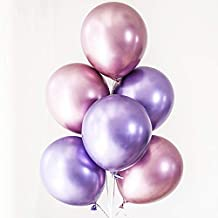 60pcs Purple Pink Chrome Shiny Metallic Latex Balloons 12inch Perfect for Birthday Party Bridal Baby Shower Engagement Wedding Party Decor (Pink,Purple)