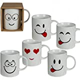 Homezone® Set of 6 White Funny Faces Emoji Tea Coffee Mugs Cups Novelty Home Office Gift Hot Chocolate Drinking Mugs (6)