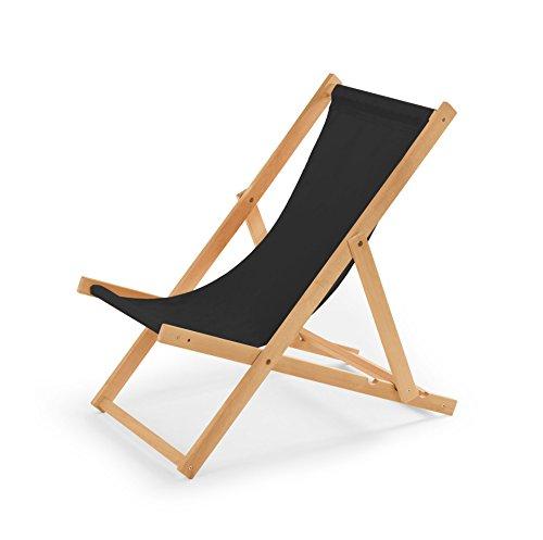 IMPWOOD Gartenliege aus Holz Liegestuhl Relaxliege Strandstuhl (Schwarz)