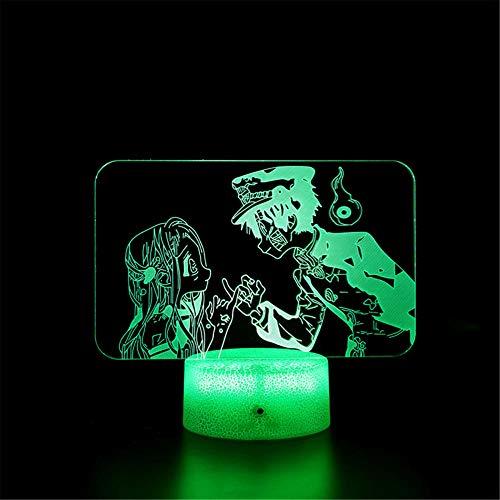 Lámpara 3D de ilusión óptica 3D, luz nocturna Demon Slayer Kamado Tanjirou regulable Control táctil Luz de brillo para decoración del hogar y regalos para amantes, padres, amigos, 16 colores