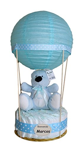 Globo de pañales azul - tarta de pañales original ideal como regalo para bebé - tarta pañales - tarta de pañales