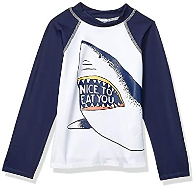 Amazon Brand - Spotted Zebra Kids Boys Swim Rashguard, Shark, Small