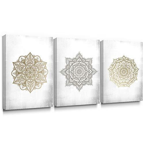 SUMGAR Mandala Art Mandala Gris Dorado Decoración de la Pared Decoraciones Indias Impresiones en Lienzo Flores asiáticas Imágenes Obra Floral para el Dormitorio Sala de Estar Baño 40x60cmx3 Piezas