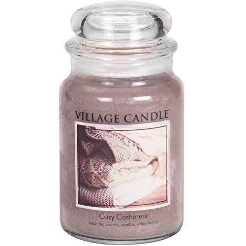 Village Candle Gemütlicher Kaschmire große Duftkerze im Glas 737 g, violett, 9.9 x 9.5 x 16.2 cm