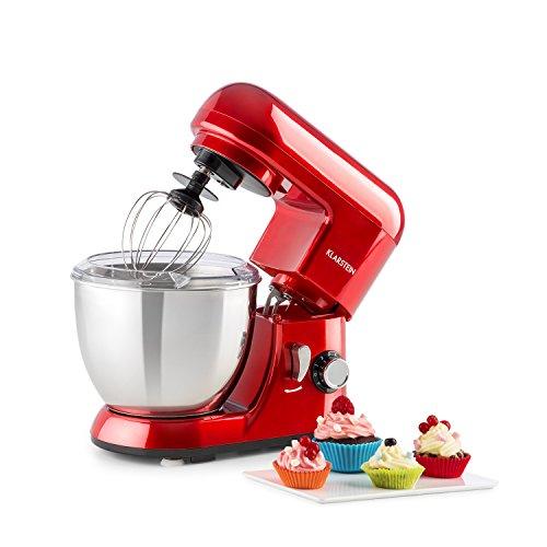 Klarstein Bella Pico Mini - Robot de cocina , Batidor , Amasador , 550 W Nominal , 800 W Pico Máx , 6 niveles , 4 Litros , Brazo multifunción , Sistema planetario , Acero inoxidable , Rojo