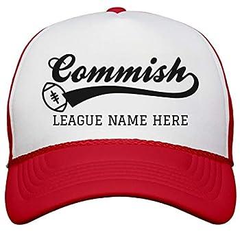 Custom Fantasy Football Commish  Snapback Trucker Hat White/Red