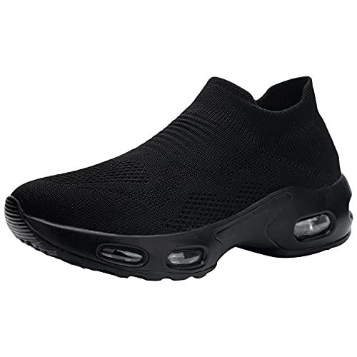 DKMILYAIR Zapatillas de Seguridad Mujer Ligeras Respirable Colchón de Aire Zapatos de Seguridad Trabajo Punta de Acero Calzado de Seguridad Deportivo (Negro,40 EU) ⭐