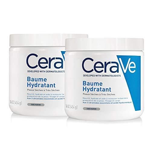 CeraVe Baume Hydratant   2 x 454g   Crème Hydratante 48h Corps, Visage, Mains à l'Acide Hyaluronique pour Peaux Sèches à Très Sèches